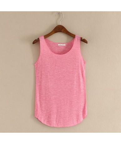 Spring Summer New Tank Tops Women Sleeveless Round Neck Loose T Shirt Ladies Vest Singlets - Rhodo - 4F3964313483-10