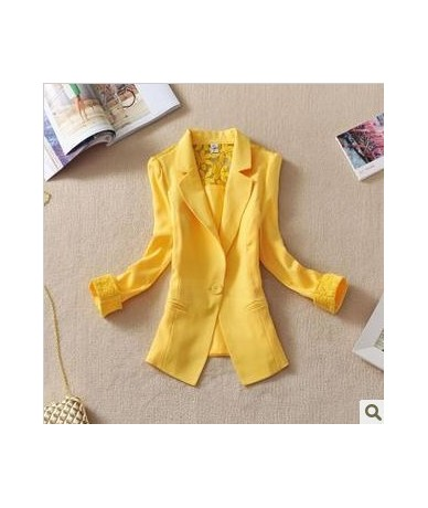 2019 Female suit women blazer elegant three quarter sleeve blazers woman outerwear women clothes women summer jacket - yello...
