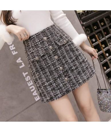 2019 New Runway Small Fragrance Woolen Mini Skirt Winter Women Vintage Plaid Gold Single-breasted Tweed A-Line Skirt Feminin...