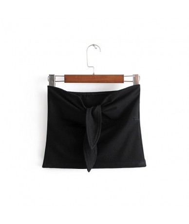 Women Pure Cotton Heart Neck Tie Crop Tube Top - black - 4X3959279564-4