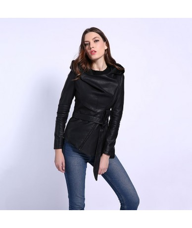 Women Leather Jacket Full Sleeve Hooded Sashes Casual Jacket Women's Collection PU Leather Coats High Quality - Black - 4D30...