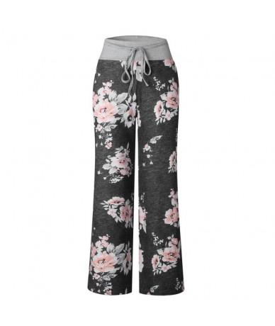 Causal Women Autumn Flower Print Pants 2018 Drawstring Wide Leg Pants Loose Straight Trousers Long Female Plus Size Trousers...