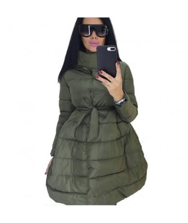 Winter Coat Women Skirt Parka Fashion Bowknot Waist Medium Long Stand Collar Cotton Padded Warm Jacket Chaqueta Mujer Invier...