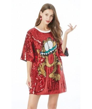 2019 Shimmer Half Sleeve Baggy Sequin T Shirt Top Loose Plus Size Cute Cartoon Cat Print Sequin Long Tee Top For Teen Girls ...