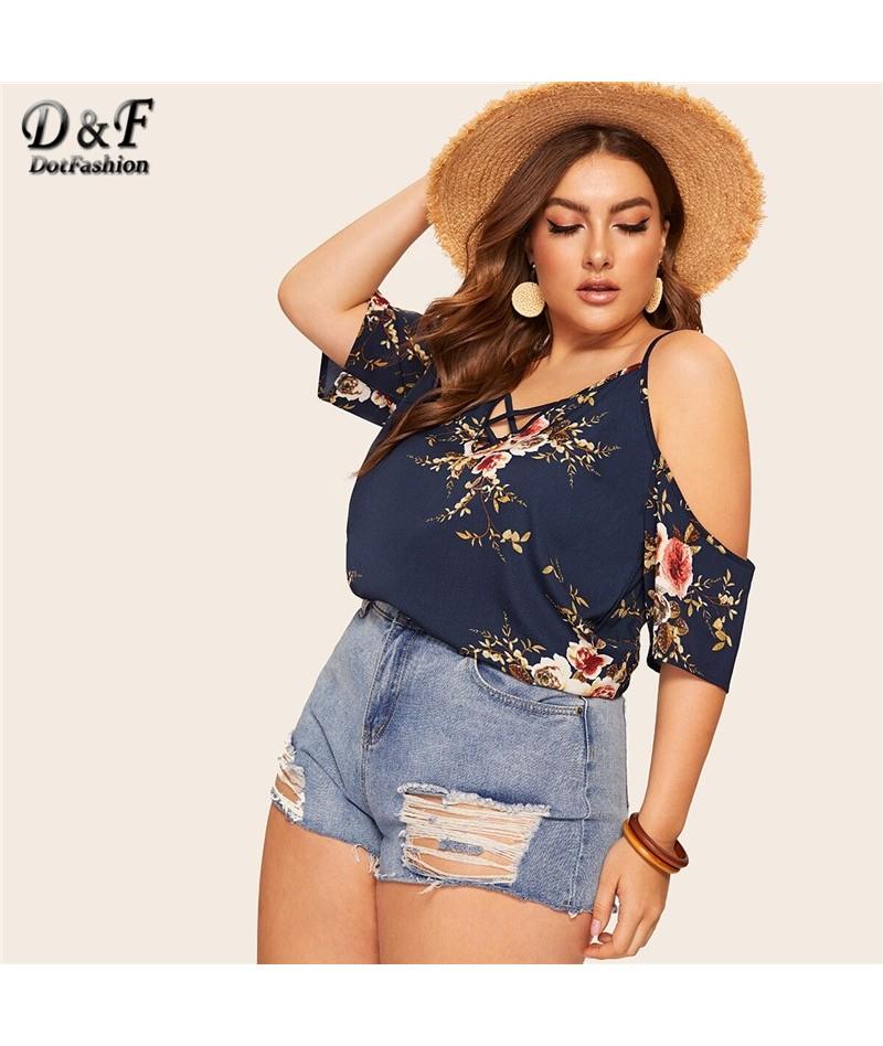 Plus Size Navy Criss Cross Cold Shoulder Floral Print Chiffon Blouse Women 2019 Summer Boho Half Sleeve Ladies Tops - 4O4127...