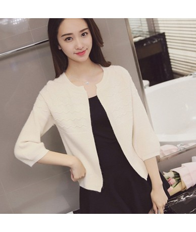 Autumn spring summer womens sweet solid color 3/4 sleeve short all-match loose sweater cardigan shawl coat female QW - OffWh...