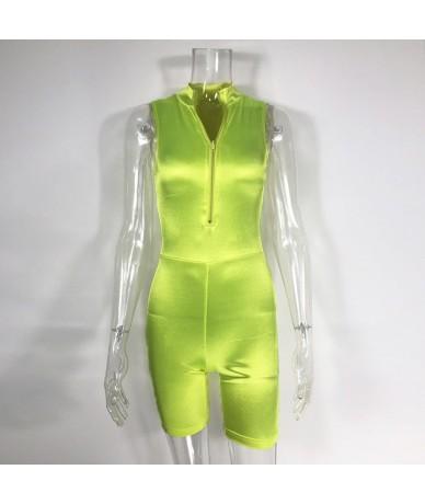 NewAsia Black Playsuit 2019 Summer Women High Collar Front Zipper Biker Short Jumpsuit Basic Slim Fit Bodysuit Sexy Streetwe...