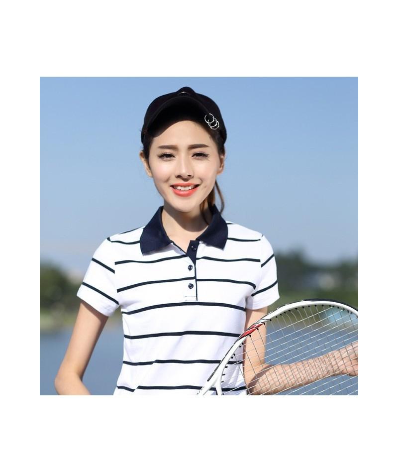 Women Polo Shirt Plus Size Summer Women Tops High Quality Cotton Shirt Hot Sale Short Sleeve Female Slim Striped Polo Shirt ...