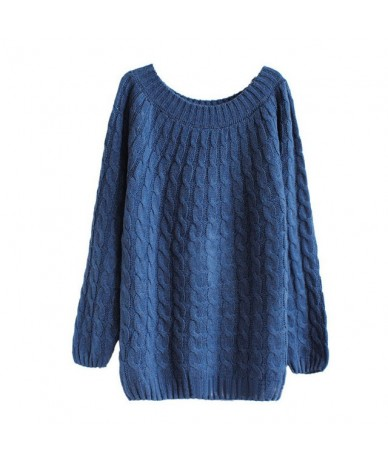 Autumn Winter Casual Sweater Women Fashion Pattern Sweaters Female Basic Pullover Jumpers Long Sleeve Knitted - Blue - 48303...
