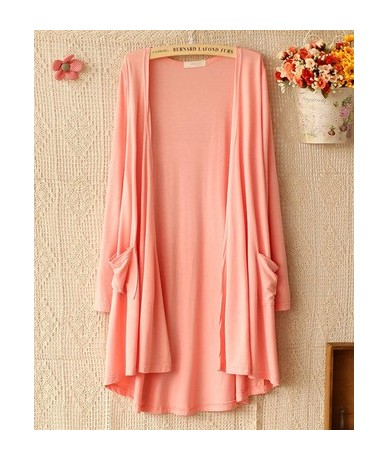 Spring Autumn Summer Women Cardigan Thin Modal Candy color Long Outerwear Sunscreen air conditioning coat QW - Pink - 4V3924...