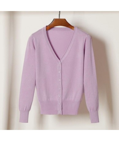 knitted cardigans spring autumn cardigan women casual long sleeve tops V neck solid women sweater coat - light purple - 4T39...