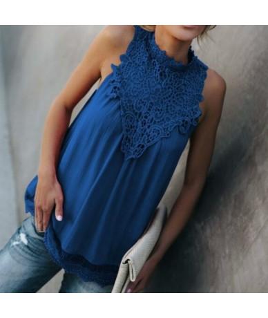 Stand collar openwork lace sleeveless women's custom color shirt sexy chiffon shirt best-selling summer shirt women TE1 - TE...