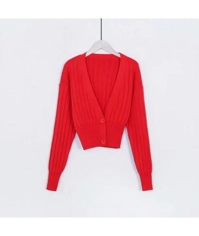 Women Deep V Neck Cropped Cardigan Drop Shoulder Ribbed Knit Cardigan - red - 4Y3064349420-1