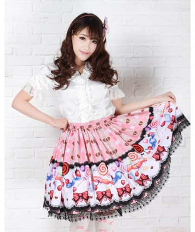 Lolita princess sweet women cute japan kawaii pink lollipop printed pleated skirts ladies party skrits girls bow ties fashio...