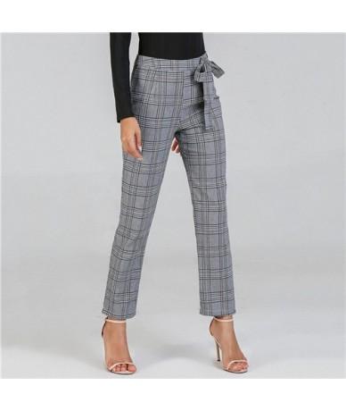 Women Pants Grey Casual Trousers Women Fashion Long Pants Autumn Clothes 2018 Womens Clothing Waist Knot Plaid Pants - Gray ...