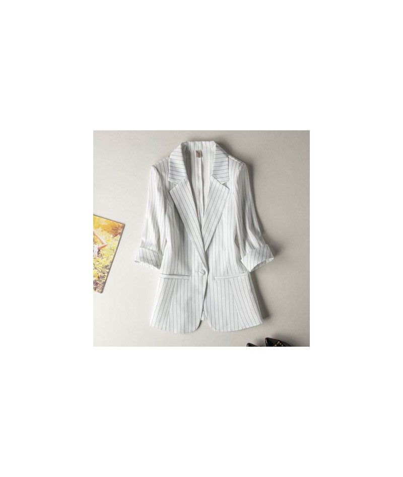 Single buckle Striped Women Blazer Spring Seven-quarter sleeve Jackets Female Suits Coat Slim Work Feminino Outerwear Plus s...