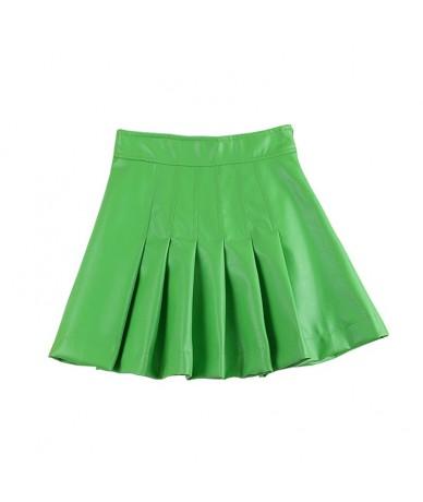 vintage green blue mini a line pleated faux leather skirt for women zip high waist womens retro winter skirts saia saias fal...