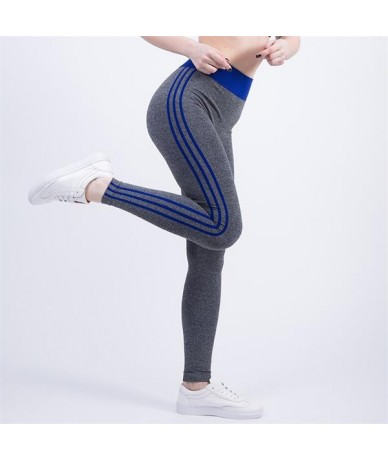 New Women High Waist Elastic Wicking Force Exercise Female Elastic Fitness Pants Slim Trousers Sexy Cropped Leggings - blue ...