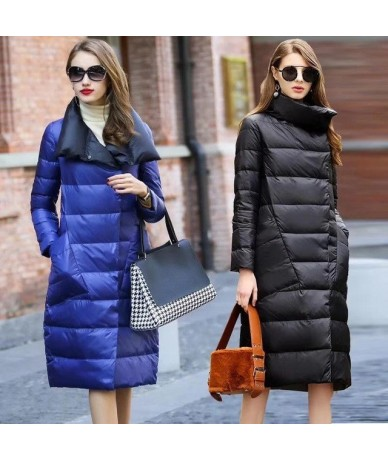 Ultra Light White Duck Winter Down Jacket Women Double Side Slim Down long Coat Single Breasted Parkas Female Waterproo - Bl...
