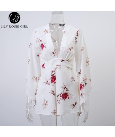 Deep V Neck White Floral Print Playsuits Women Long Sleeve Autumn Winter Sexy Jumpsuits Short Rompers Overalls - White - 327...