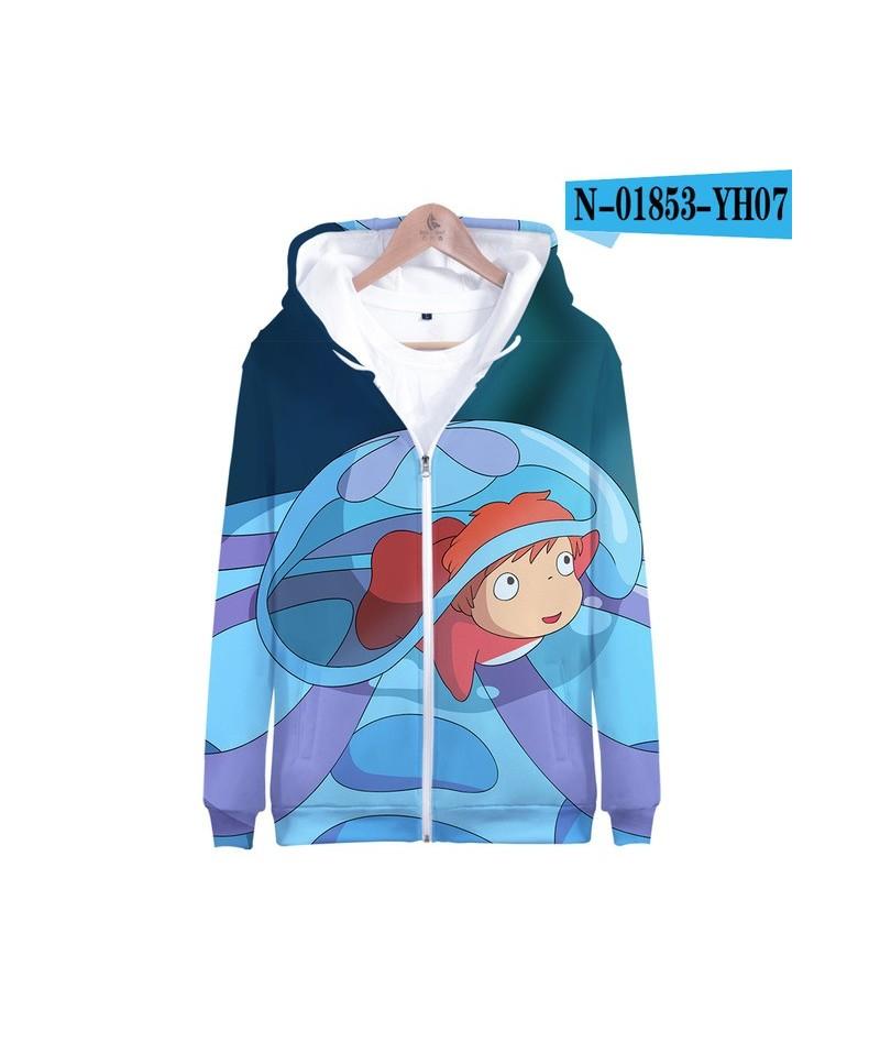 Leisure HIP HOP Ponyo on the Cliff Zipper Sweatshirt Casual Hip hop Hoodies Highstreet Autumn And Spring kpop Sweatshirt - C...