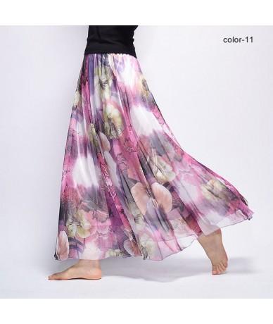 New Fashion 2018 Women's BOHO Elegant Florals Print Chiffon Long Skirt Ladies Slim High-Waist Elastic Waist Pleated Skirts S...
