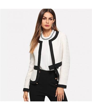 Bow Front White Blazer Female Workwear Women Blazers And Jackets Autumn 2018 Clothes Ladies Long Sleeve Elegant Blazer - Whi...