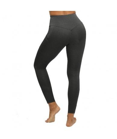 Women Leggings Plus Size Solid Casual Color High Waist Pocket Leggins Push Up Elastic Workout Push Up Fitness Legings - Deep...