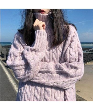 Women's Clothing Cute Kawaii Casual Loose High Collar Twist Sweater Winter Knitted Lady Harajuku Ulzzang Sweaters For Women ...