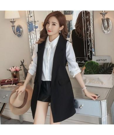 Plus Size 3XL Spring Autumn Long Coat Sleeveless Suit Vest Coat Women Chaleco Mujer Ladies Tops Office Blazer Vest Jacket C5...