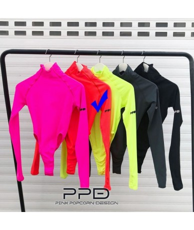 Super Red Small Collar Reflective Strip Side PPD Printing High Slits Jumpsuit High Elastic Long Sleeve - Color-2 - 4W4111122...