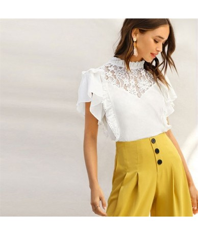 Lady Frill Trim Neck Lace Yoke Ruffle Detail White Top Summer Cute Stand Collar Cotton Solid Womens Tops And Blouses - White...