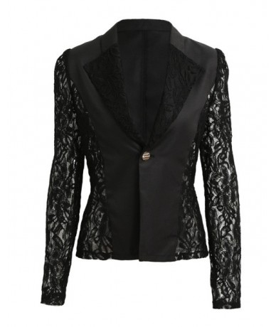 2019 Elegant Plus Size Women Blazer Black White Long Sleeve Hollow Out All Match Female Jacket Lace Patchwork Office Lady Su...