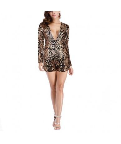 Women Sequins Jumpsuit Deep V Neck Long Sleeves Backless Rompers for Spring JS24 - black gold - 4000093057670