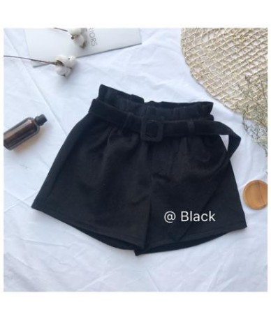 Wool Thick Ladies Loose Sashes Spring Shorts Womens Elastic Waist Wide leg Shorts Autumn Vintage Thicken High waist Shorts 2...