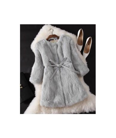 Natural Fur Coat New Winter Entire Skin Real Rabbit Fur Coat Female Three Quarter Sleeve Soft Fur Coats With Belt Long Cloth...