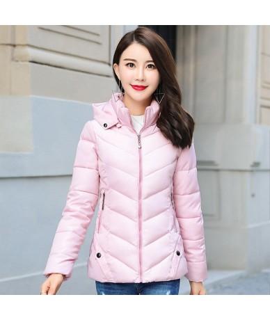 2019 Winter Jacket Women Autumn Hooded Short Padded Outwear Female Coat Slim Parka Abrigos Mujer Invierno - Pink - 4W4120389...