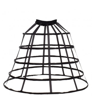 Medieval Birdcage 5 Hoop Skirt Petticoat Victorian Women Circle Boned Underskirt Crinoline - Black - 4B3998922513-1