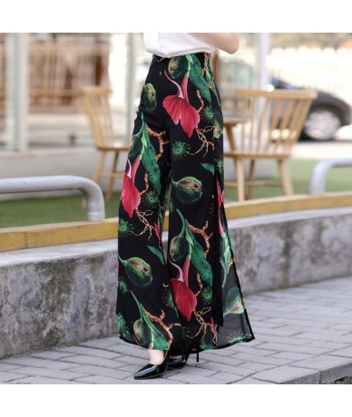 2019 Summer New Side Split Floral Print Trousers Thin Chiffon Vacation Wide Leg High Waist Seaside Beach Pants Female S to 3...
