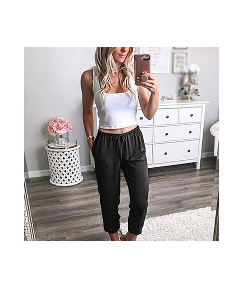 Women's Pants Low-waist Cropped Pants Casual Sports Drawstring Elastic Waist Trousers Beach - Black - 5H111113007725-3