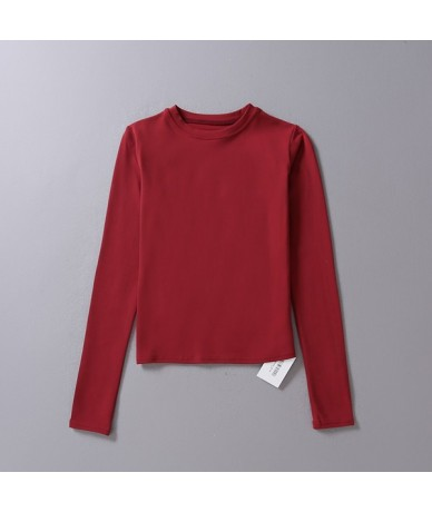 Designer Style Women Basic Crew Neck Slim T-shirt Woman's Primer Shirt Sexy Tops All Match Pure Color Tops - darkred - 4S380...