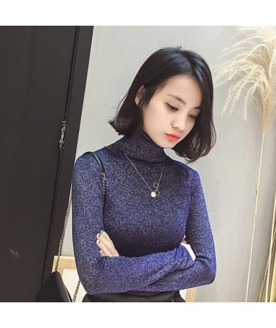 Ladies Sweaters Shiny Lurex Turtleneck Sweater Female Knit Winter Warm Korean Fashion Red Sweater Women Turtleneck Pullover ...