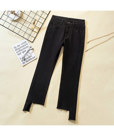 high waist black blue skinny jeans woman Irregular ripped mom jeans for women plus size Pockets Ladies jeans denim jeans fem...