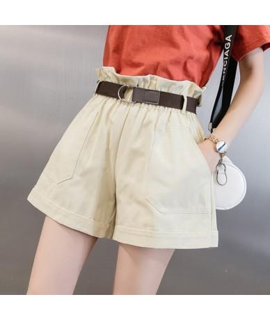 Fashion Female Elastic Sashes High Waist Shorts Women Vintage Casual Solid Loose Wide Leg shorts with belt 2019 Summer Autum...