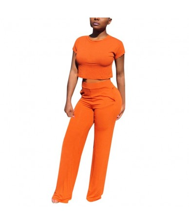 sets clothes 2 piece Set Round Neck Short Sleeve tracksuit women crop top and pants Womens outfits Jumpsuit Casual - Orange ...