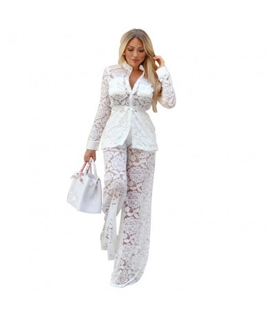 Womens Outfits 2019 Long Sleeve Autumn Winter High Quality White Lace Hollow Out Sexy Two Piece Office Ladies Wide Leg Pant ...
