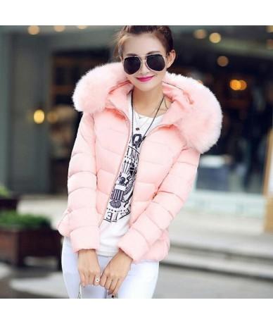 Parkas Mujer 2018 Winter Jacket Women Thicken Warm Hooded Coat Short Parkas Outwear Fur Collar Cotton Padded Jacket Female -...