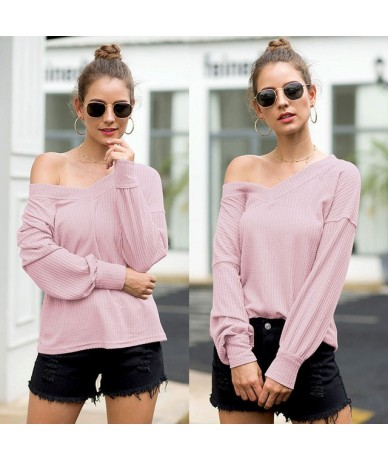 2019 Ladies Women T-Shirt Casual Autumn Solid Long Sleeve V-Neck Tops T shirt S-2XL Plus Size - Pink - 5V111198259079-4