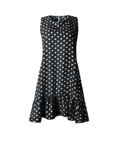 Sleeveless O-neck Polka Dot Ruffles Summer Dress 2019 Casual Loose Plus Size Dress Women Vestidos - Black - 4Z3005285954-1