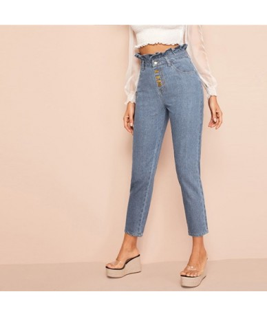Light Wash Button Fly Paperbag Waist Skinny Jeans Woman Spring Summer Casual High Waist Jeans Blue Denim Ladies Pants - Blue...